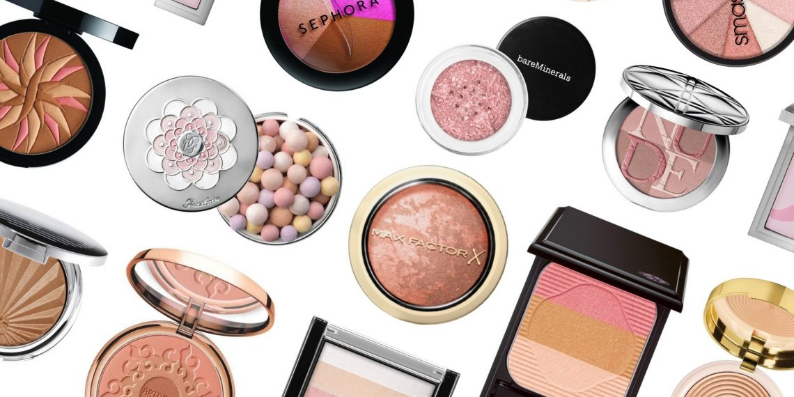 Übersicht über Kosmetikprodukte. Meine beliebten Highlighter fürs Gesicht